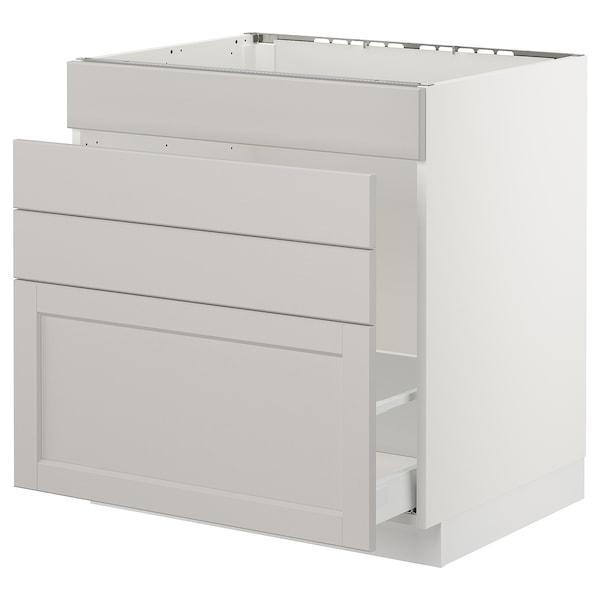 "SEKTION Base cabinet f/sink & waste sorting, white Maximera/Lerhyttan light gray, 30x24x30 """