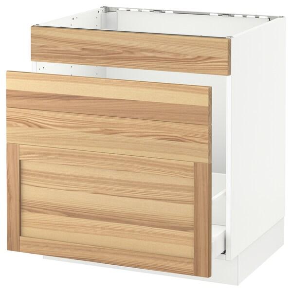 "SEKTION Base cabinet f/sink & waste sorting, white Maximera/Torhamn ash, 30x24x30 """
