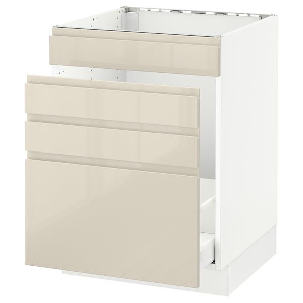 "SEKTION Base cabinet f/sink & waste sorting, white Maximera/Voxtorp high-gloss light beige, 24x24x30 """
