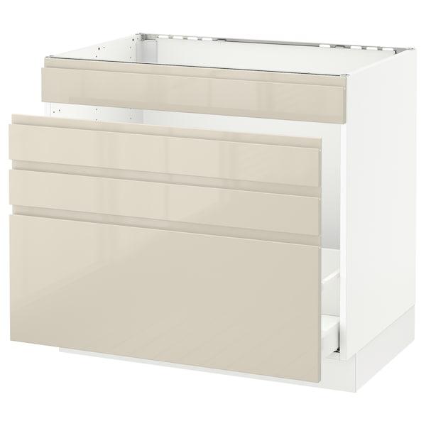 "SEKTION Base cabinet f/sink & waste sorting, white Maximera/Voxtorp high-gloss light beige, 36x24x30 """