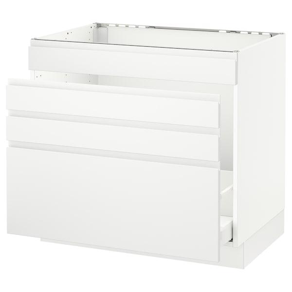 "SEKTION Base cabinet f/sink & waste sorting, white Maximera/Voxtorp matt white, 36x24x30 """