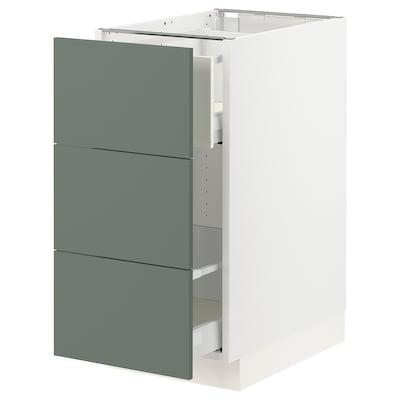 "SEKTION Base cabinet for recycling, white Maximera/Bodarp gray-green, 15x24x30 """