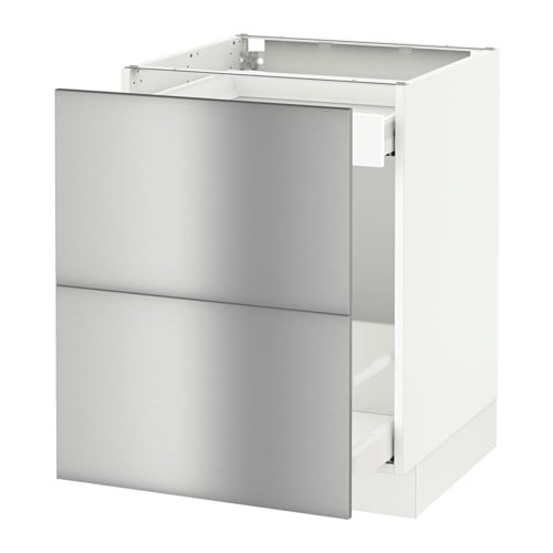 Sektion base cabinet for recycling white grevsta for Stainless steel kitchen base cabinets