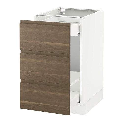 Sektion Base Cabinet For Recycling White Voxtorp Walnut