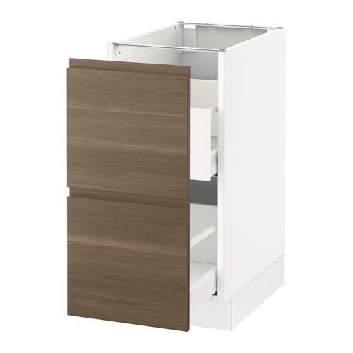 SEKTION Base Cabinet For Recycling White Voxtorp Walnut Effect IKEA