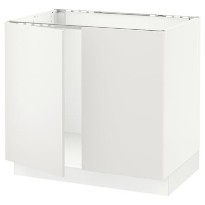 SEKTION Base cabinet for sink + 2 doors, white/Häggeby white, 36x24x30 ""