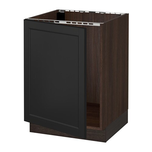 Sektion base cabinet for sink wood effect brown laxarby for Wood effect kitchen cupboards