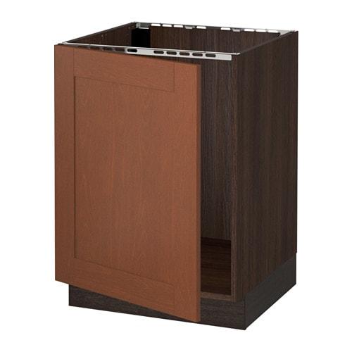 Sektion Base Cabinet For Sink Wood Effect Brown