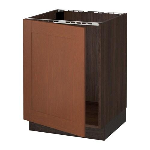 Sektion base cabinet for sink wood effect brown for Wood effect kitchen cupboards