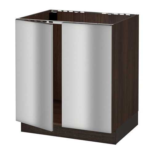 Sektion base cabinet for sink 2 doors wood effect for Stainless steel kitchen base cabinets