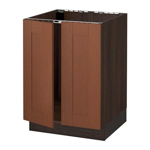 Medium Brown Kitchen Cabinets: SEKTION Base Cabinet For Sink + 2 Doors
