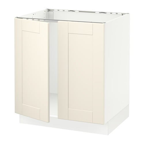 Sektion Base Cabinet For Sink 2 Doors White Grimsl V Off White 30x24x30 Ikea