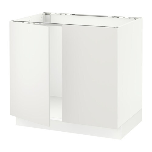 Sektion Base Cabinet For Sink 2 Doors White Haggeby White