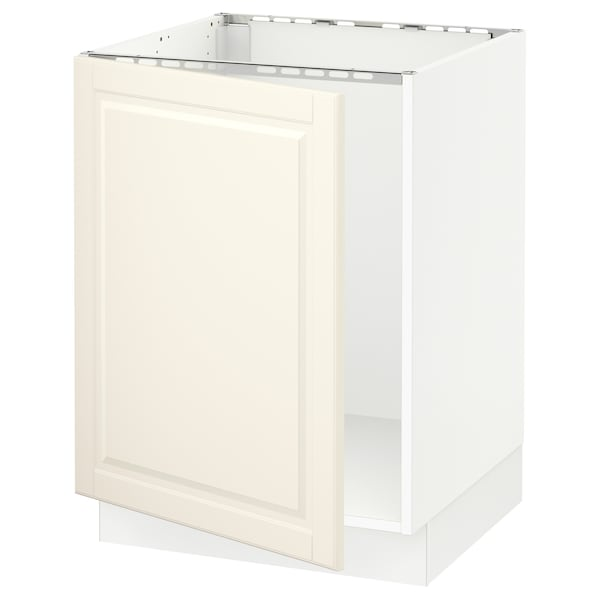 SEKTION Base cabinet for sink, white/Bodbyn off-white, 24x24x30 ""