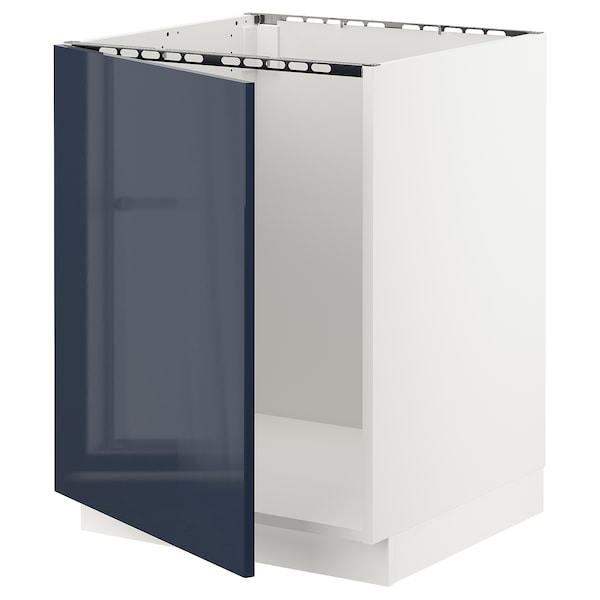 """SEKTION Base cabinet for sink, white/Järsta black-blue, 24x24x30 """""""