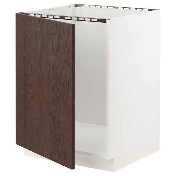"SEKTION Base cabinet for sink, white/Sinarp brown, 24x24x30 """