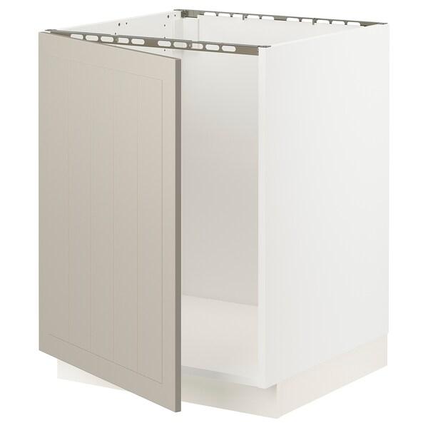 """SEKTION Base cabinet for sink, white/Stensund beige, 24x24x30 """""""