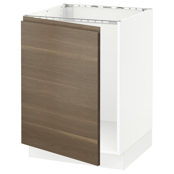 SEKTION Base cabinet for sink, white/Voxtorp walnut effect, 24x24x30 ""
