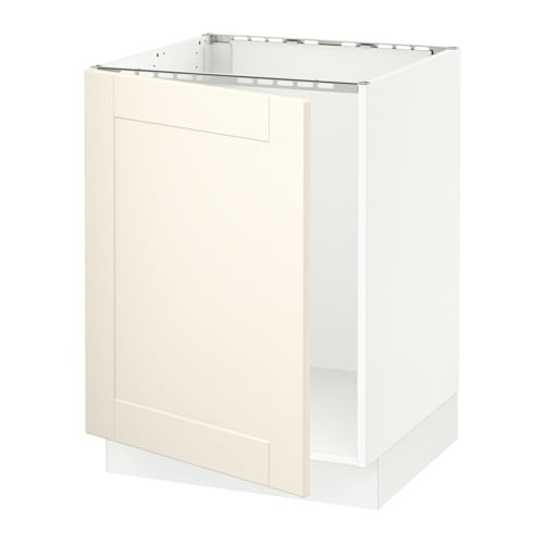 Sektion base cabinet for sink white grimsl v off white for Ikea sektion kitchen cabinets