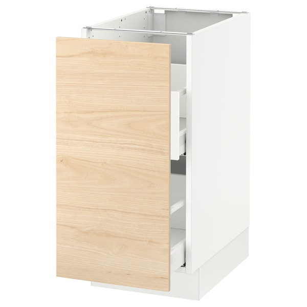 "SEKTION Base cabinet for sorting + 1 door, white Maximera/Askersund light ash effect, 15x24x30 """