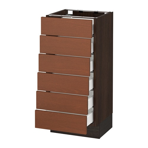 Sektion Base Cabinet 6 Fronts 6 Low Drawers Wood Effect Brown Ma Grimsl V Medium Brown