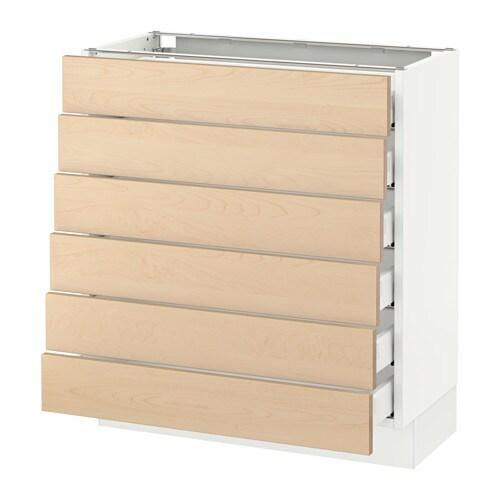 Sektion Base Cabinet 6 Fronts 6 Low Drawers White Ma Bj Rket Birch 30x15x30 Ikea