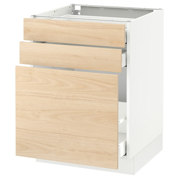 SEKTION Base cabinet/p-out storage/2 drawer, white Maximera/Askersund light ash effect, 24x24x30 ""