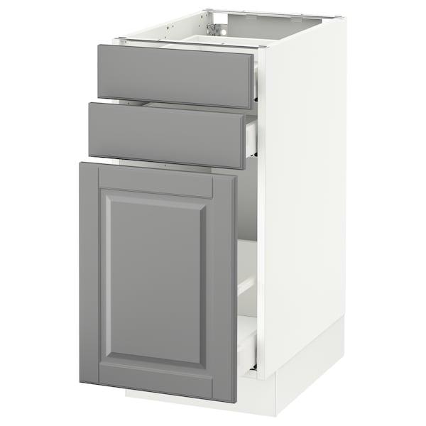 "SEKTION Base cabinet/p-out storage/2 drawer, white Maximera/Bodbyn gray, 15x24x30 """