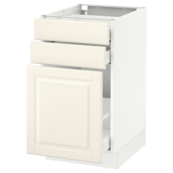 "SEKTION Base cabinet/p-out storage/2 drawer, white Maximera/Bodbyn off-white, 18x24x30 """