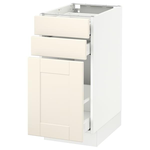 "SEKTION Base cabinet/p-out storage/2 drawer, white Maximera/Grimslöv off-white, 15x24x30 """