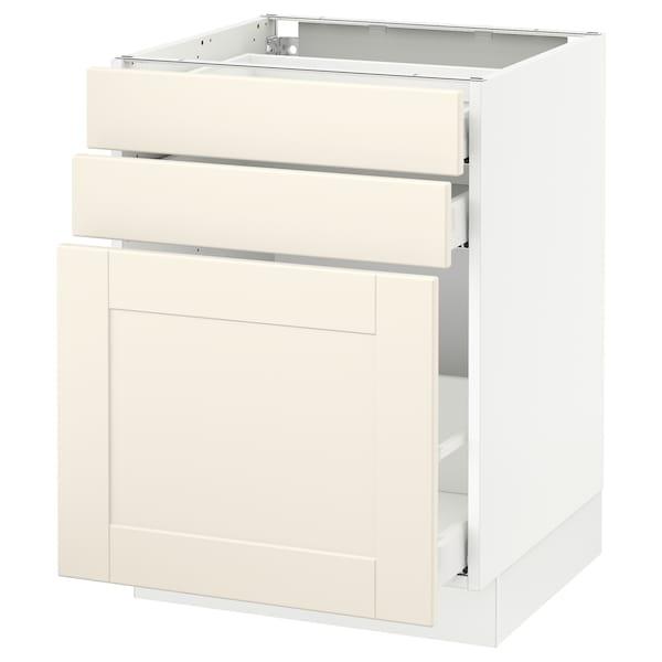 "SEKTION Base cabinet/p-out storage/2 drawer, white Maximera/Grimslöv off-white, 24x24x30 """