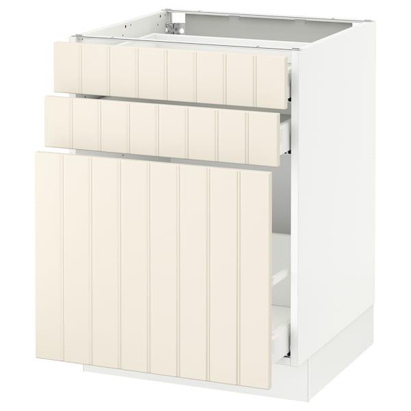 "SEKTION Base cabinet/p-out storage/2 drawer, white Maximera/Hittarp off-white, 24x24x30 """