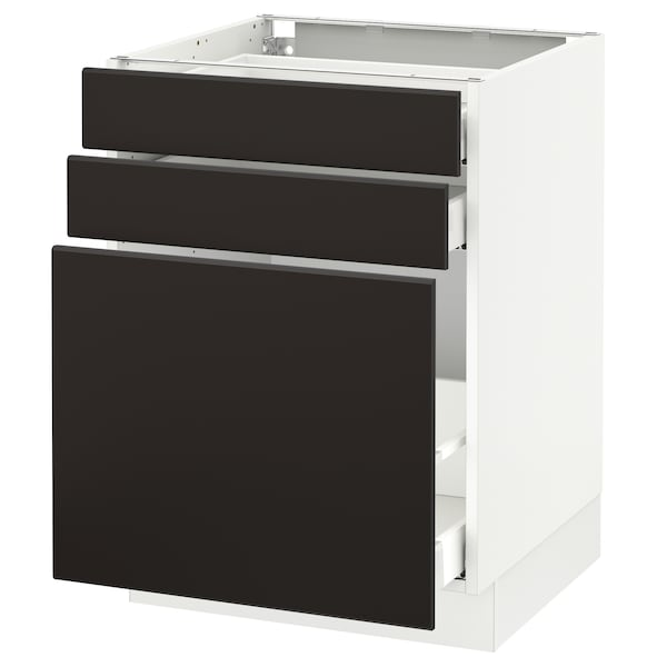 SEKTION Base cabinet/p-out storage/2 drawer, white Maximera/Kungsbacka anthracite, 24x24x30 ""