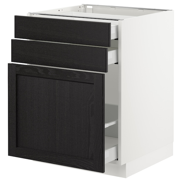 SEKTION Base cabinet/p-out storage/2 drawer, white Maximera/Lerhyttan black stained, 24x24x30 ""