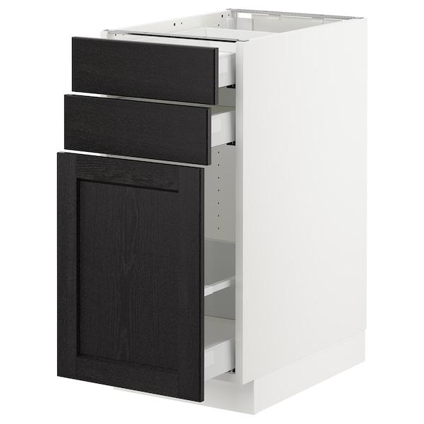 "SEKTION Base cabinet/p-out storage/2 drawer, white Maximera/Lerhyttan black stained, 15x24x30 """