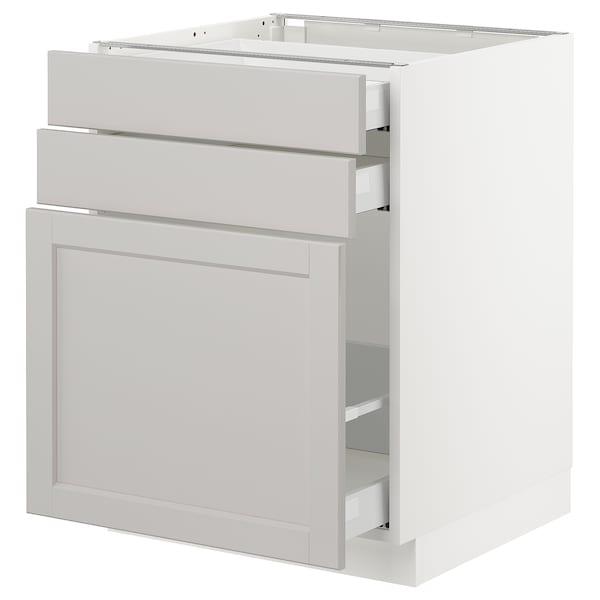 "SEKTION Base cabinet/p-out storage/2 drawer, white Maximera/Lerhyttan light gray, 24x24x30 """