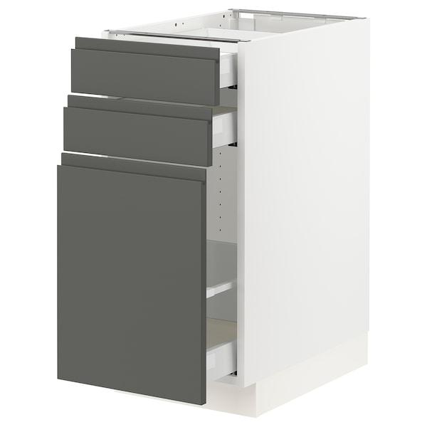 "SEKTION Base cabinet/p-out storage/2 drawer, white Maximera/Voxtorp dark gray, 15x24x30 """