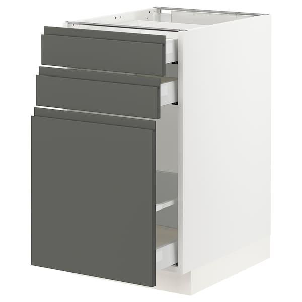 "SEKTION Base cabinet/p-out storage/2 drawer, white Maximera/Voxtorp dark gray, 18x24x30 """