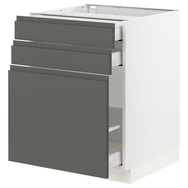 "SEKTION Base cabinet/p-out storage/2 drawer, white Maximera/Voxtorp dark gray, 24x24x30 """