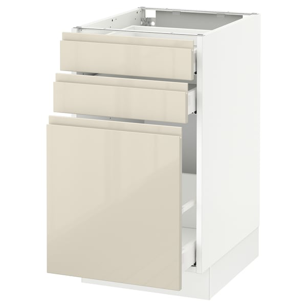 SEKTION Base cabinet/p-out storage/2 drawer, white Maximera/Voxtorp high-gloss light beige, 18x24x30 ""