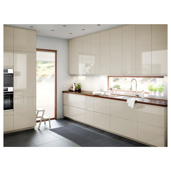 "SEKTION Base cabinet/p-out storage/2 drawer, white Maximera/Voxtorp high-gloss light beige, 15x24x30 """