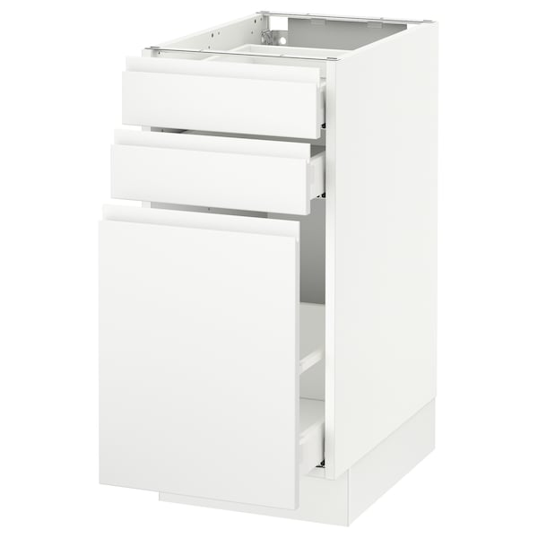 "SEKTION Base cabinet/p-out storage/2 drawer, white Maximera/Voxtorp matt white, 15x24x30 """