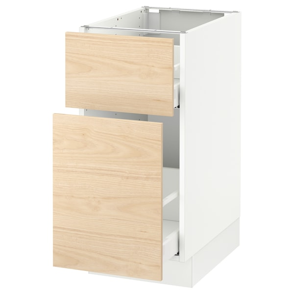 "SEKTION Base cabinet/p-out storage/drawer, white Maximera/Askersund light ash effect, 15x24x30 """