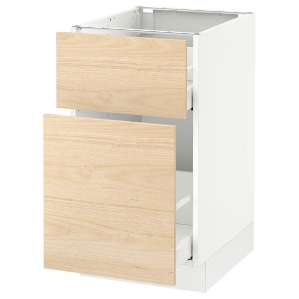 "SEKTION Base cabinet/p-out storage/drawer, white Maximera/Askersund light ash effect, 18x24x30 """