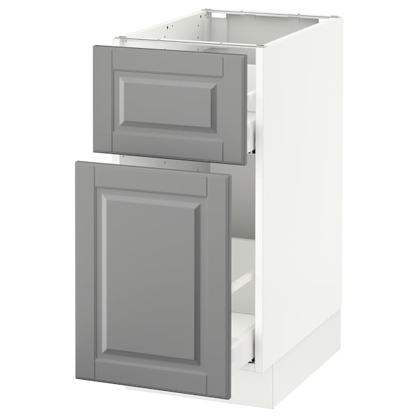 SEKTION Base cabinet/p-out storage/drawer, white Maximera/Bodbyn gray, 15x24x30 ""