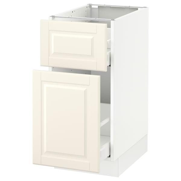 "SEKTION Base cabinet/p-out storage/drawer, white Maximera/Bodbyn off-white, 15x24x30 """