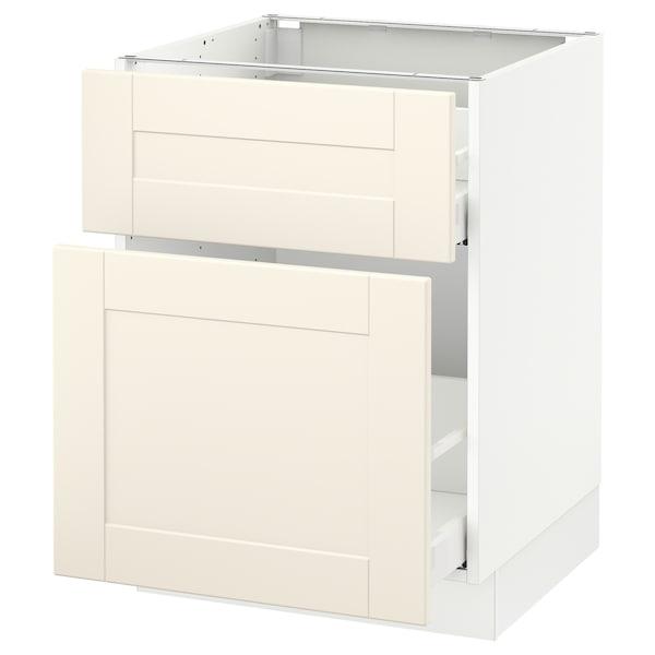 "SEKTION Base cabinet/p-out storage/drawer, white Maximera/Grimslöv off-white, 24x24x30 """