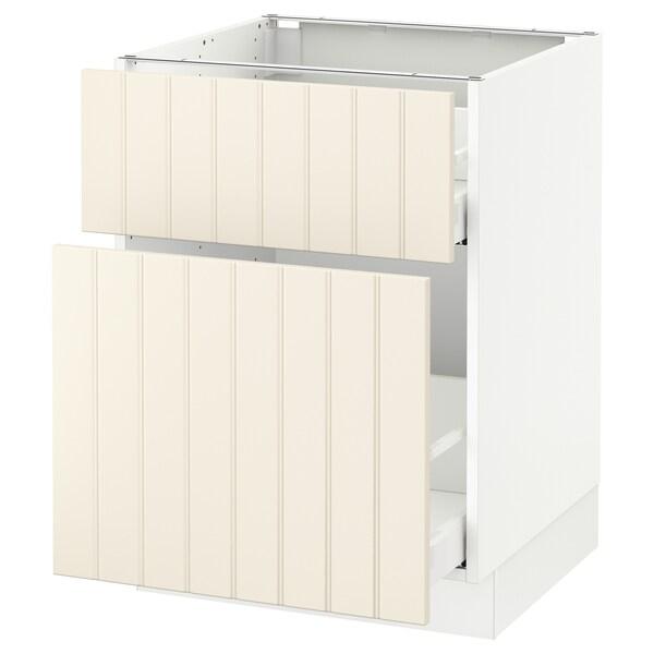 "SEKTION Base cabinet/p-out storage/drawer, white Maximera/Hittarp off-white, 24x24x30 """