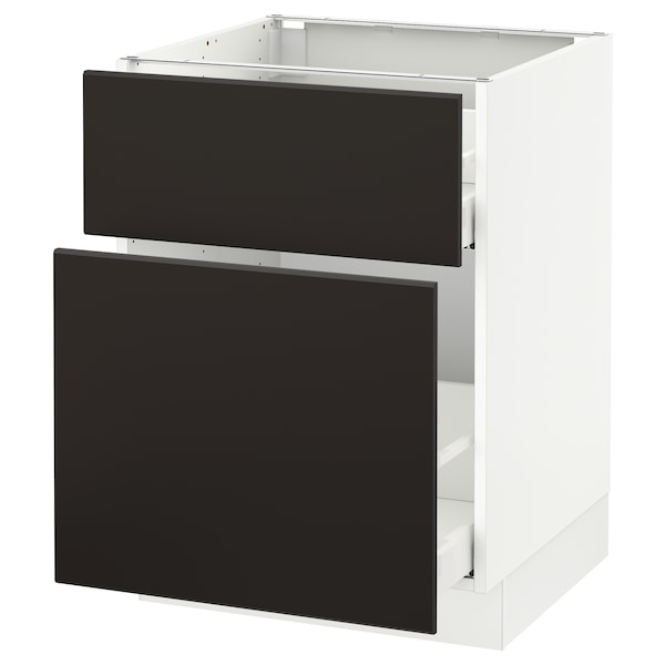 SEKTION Base cabinet/p-out storage/drawer, white Maximera/Kungsbacka anthracite, 24x24x30 ""