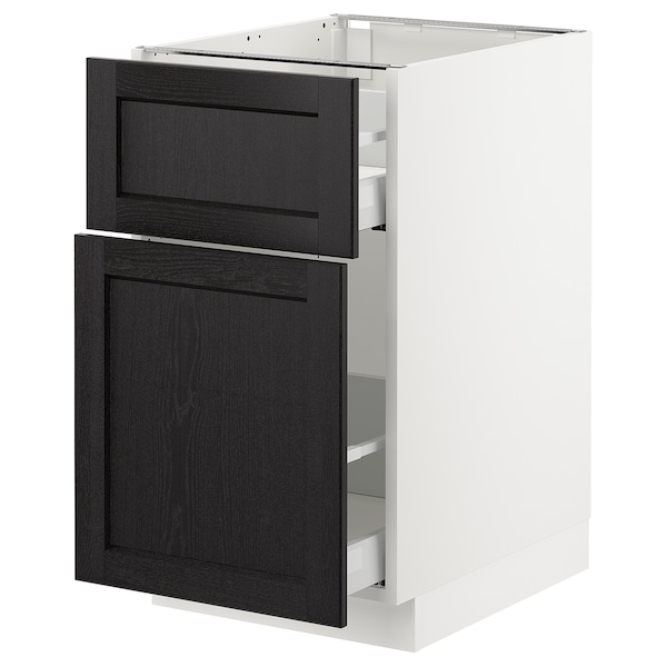 SEKTION Base cabinet/p-out storage/drawer, white Maximera/Lerhyttan black stained, 18x24x30 ""